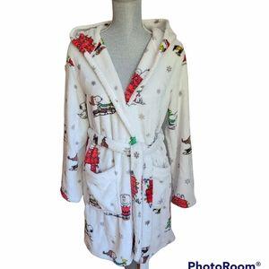 Peanuts Xmas theme Fleece Bath Robe